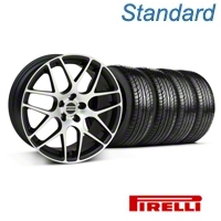 Matte Black Machined AMR Wheel & Pirelli Tire Kit - 18x8 (05-14 All) - AmericanMuscle Wheels KIT||28326||63104