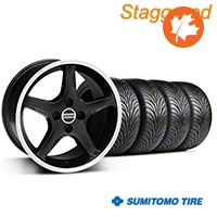 Staggered Black 1995 Style Cobra R Wheel & Sumitomo Tire Kit - 17x8/10 (87-93; Excludes 93 Cobra) - AmericanMuscle Wheels KIT||28313||28310||63010||63001