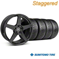 Forgestar Staggered CF5 Piano Black Wheel & Sumitomo Tire Kit - 18x9/10 (05-14 All) - Forgestar 29618||29619||63008||63009||KIT