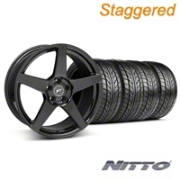 Forgestar Staggered CF5 Piano Black Wheel & NITTO Tire Kit - 18x9/10 (05-14 All) - Forgestar 29618||29619||76009||76010||KIT