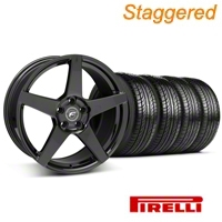 Forgestar Staggered CF5 Piano Black Wheel & Pirelli Tire Kit - 19x9/10 (05-14 All) - Forgestar 29616||29617||63101||63102||KIT