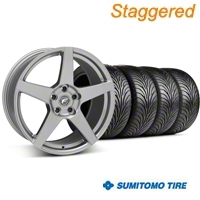 Staggered Gunmetal Forgestar CF5 Wheel & Sumitomo Tire Kit - 18x9/10 (05-14 All) - Forgestar KIT||29610||29611||63008||63009