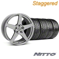 Forgestar Staggered CF5 Gunmetal Wheel & NITTO Tire Kit - 18x9/10 (05-14 All) - Forgestar 29610||29611||76009||76010||KIT