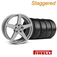 Staggered Gunmetal Forgestar CF5 Wheel & Pirelli Tire Kit - 19x9/10 (05-14 All) - Forgestar KIT||29608||29609||63101||63102