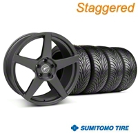 Forgestar Staggered CF5 Matte Black Wheel & Sumitomo Tire Kit - 18x9/10 (05-14 All) - Forgestar 29602||29603||63008||63009||KIT