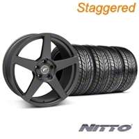 Forgestar Staggered CF5 Matte Black Wheel & NITTO Tire Kit - 18x9/10 (05-14 All) - Forgestar 29602||29603||76009||76010||KIT