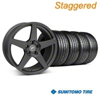 Staggered Matte Black Forgestar CF5 Wheel & Sumitomo Tire Kit - 19x9/10 (05-14 All) - Forgestar KIT||29600||29601||63036||63037
