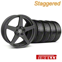 Staggered Matte Black Forgestar CF5 Wheel & Pirelli Tire Kit - 19x9/10 (05-14 All) - Forgestar KIT||29600||29601||63101||63102