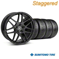 Staggered Piano Black Forgestar F14 Wheel & Sumitomo Tire Kit - 18x9/10 (05-14 All) - Forgestar KIT||29622||29623||63008||63009