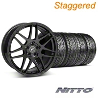 Staggered Piano Black Forgestar F14 Wheel & NITTO Tire Kit - 18x9/10 (05-14 All) - Forgestar KIT||29622||29623||76009||76010