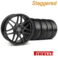Staggered Piano Black Forgestar F14 Wheel & Pirelli Tire Kit - 19x9/10 (05-14 All) - Forgestar KIT||29620||29621||63101||63102