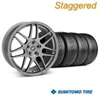 Staggered Gunmetal Forgestar F14 Wheel & Sumitomo Tire Kit - 18x9/10 (05-14 All) - Forgestar KIT||29614||29615||63008||63009