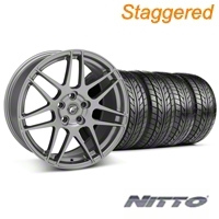 Staggered Gunmetal Forgestar F14 Wheel & NITTO Tire Kit - 18x9/10 (05-14 All) - Forgestar KIT||29614||29615||76009||76010