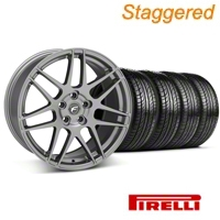 Staggered Gunmetal Forgestar F14 Wheel & Pirelli Tire Kit - 19x9/10 (05-14 All) - Forgestar KIT||29612||29613||63101||63102