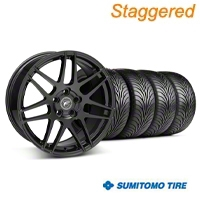 Staggered Matte Black Forgestar F14 Wheel & Sumitomo Tire Kit - 18x9/10 (05-14 All) - Forgestar KIT||29606||29607||63008||63009