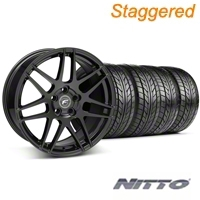 Forgestar Staggered F14 Matte Black Wheel & NITTO Tire Kit - 18x9/10 (05-14 All) - Forgestar 29606||29607||76009||76010||KIT