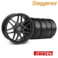 Staggered Matte Black Forgestar F14 Wheel & Pirelli Tire Kit - 19x9/10 (05-14 All) - Forgestar KIT||29604||29605||63101||63102