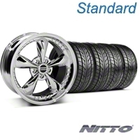 Chrome Bullitt Motorsport Wheel & NITTO Tire Kit - 18x9 (05-14 All) - AmericanMuscle Wheels KIT10114||76009