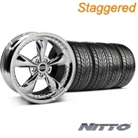 Staggered Bullitt Motorsport Chrome Wheel & NITTO Tire Kit - 18x9/10 (05-14 GT, V6) - American Muscle Wheels KIT10114