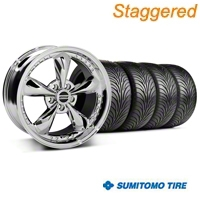 Staggered Bullitt Motorsport Chrome Wheel & Sumitomo Tire Kit - 18x9/10 (94-98 All) - American Muscle Wheels 10113||10115||63005||63006||KIT