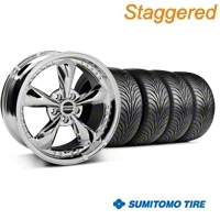 Staggered Bullitt Motorsport Chrome Wheel & Sumitomo Tire Kit - 18x9/10 (05-14 GT, V6) - American Muscle Wheels KIT10114