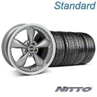 Anthracite Bullitt Motorsport Wheel & NITTO Tire Kit - 18x9 (05-14 GT, V6) - AmericanMuscle Wheels KIT 10118||76009
