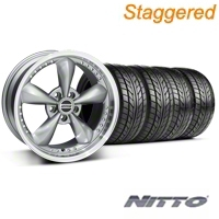 Staggered Bullitt Motorsport Anthracite Wheel & NITTO Tire Kit - 18x9/10 (99-04 All) - American Muscle Wheels 10119||76003||76013||KIT10117