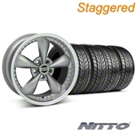 Staggered Anthracite Bullitt Motorsport Wheel & NITTO Tire Kit - 18x9/10 (05-14 GT, V6) - AmericanMuscle Wheels KIT 10118||10120||76009||76010