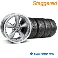 Staggered Bullitt Motorsport Anthracite Wheel & Sumitomo Tire Kit - 18x9/10 (94-98 All) - American Muscle Wheels 10119||63005||63006||KIT10117