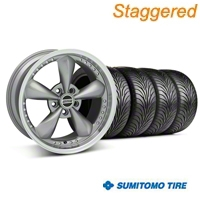 Staggered Anthracite Bullitt Motorsport Wheel & Sumitomo Tire Kit - 18x9/10 (05-14 GT, V6) - AmericanMuscle Wheels KIT 10118||10120||63008||63009