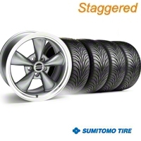 Staggered Bullitt Anthracite Wheel & Sumitomo Tire Kit - 18x9/10 (94-98 All) - American Muscle Wheels 28263||28269||63005||63006||KIT