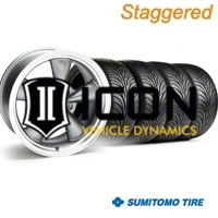 Staggered Anthracite Bullitt Wheel & Sumitomo Tire Kit - 18x9/10 (94-98 All) - AmericanMuscle Wheels KIT||28263||28269||63005||63006