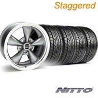 Staggered Anthracite Bullitt Wheel & NITTO Tire Kit - 18x9/10 (94-98 All) - AmericanMuscle Wheels KIT||28263||28269||76002||76003