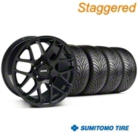 Staggered Black AMR Wheel & Sumitomo Tire Kit - 18x9/10 (05-14 All) - AmericanMuscle Wheels KIT||33780||33782||63008||63009