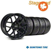 Staggered AMR Black Wheel & Sumitomo Tire Kit - 18x9/10 (05-14 All) - American Muscle Wheels KIT