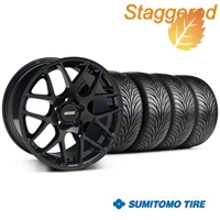 Staggered AMR Black Wheel & Sumitomo Tire Kit - 18x9/10 (05-14 All) - American Muscle Wheels 33780||33782||63008||63009||KIT