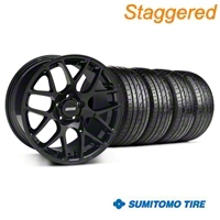 Staggered AMR Black Wheel & Sumitomo Tire Kit - 19x8.5/10 (05-14 All) - American Muscle Wheels KIT