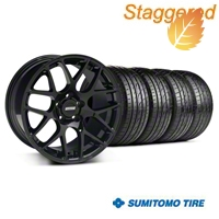 Staggered AMR Black Wheel & Sumitomo Tire Kit - 19x8.5/10 (05-14 All) - American Muscle Wheels 33783||33784||36036||63037||KIT