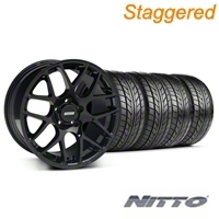 Staggered Black AMR Wheel & NITTO Tire Kit - 18x9/10 (05-14 All) - AmericanMuscle Wheels KIT||33780||33782||76009||76010
