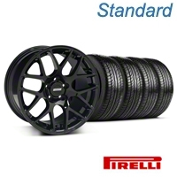 Black AMR Wheel & Pirelli Tire Kit - 18x8 (05-14 All) - AmericanMuscle Wheels KIT||33781||63104