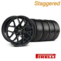 Staggered AMR Black Wheel & Pirelli Tire Kit - 19x8.5/10 (05-14 All) - American Muscle Wheels 33783||33784||63101||63102||KIT