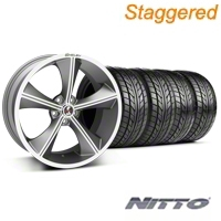 Shelby Staggered CS70 Gunmetal Wheel & NITTO Tire Kit - 20x9/10 (05-14 All) - Shelby 33900||33901||76005||76006||KIT