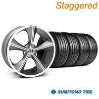 Shelby Staggered CS70 Gunmetal Wheel & Sumitomo Tire Kit - 20x9/10 (05-14 All) - Shelby 33900||33901||63024||63025||KIT