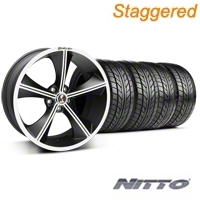 Shelby Staggered CS70 Matte Black Wheel & NITTO Tire Kit - 20x9/10 (05-14 All) - Shelby 33902||33903||76005||76006||KIT