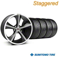 Staggered Matte Black Shelby CS70 Wheel & Sumitomo Tire Kit - 20x9/10 (05-14 All) - Shelby KIT||33902||33903||63024||63025