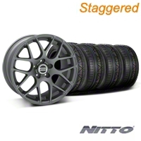 Staggered Charcoal AMR Wheel & NITTO Invo Tire Kit - 19x8.5/10 (05-14 All) - AmericanMuscle Wheels KIT28336||28339||79520||79521