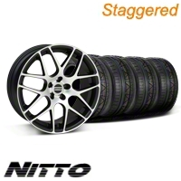 Staggered Matte Black Machined AMR Wheel & NITTO Invo Tire Kit - 19x8.5/9.5 (05-13 All)