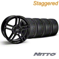 Staggered Black 2010 Style GT500 Wheel & NITTO Invo Tire Kit - 19x8.5/10 (05-14 All) - AmericanMuscle Wheels KIT28236||28239||79520||79521