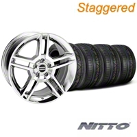 Staggered 2010 GT500 Chrome Wheel & NITTO INVO Tire Kit - 19x8.5/10 (05-14 All) - American Muscle Wheels 28240||79520||79521||KIT28237