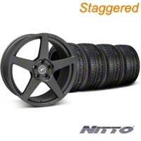 Forgestar Staggered CF5 Matte Black Wheel & NITTO INVO Tire Kit - 19x9/10 (05-14 All) - Forgestar 29600||29601||79520||79521||KIT